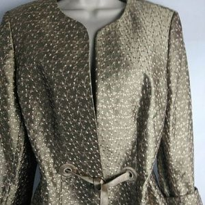 Nipon Boutiques Open FrontSatin Embroidered Jacket